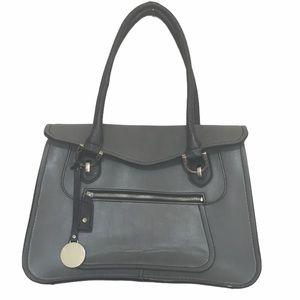 London fog gray leather tote bag